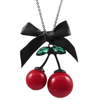 Luxiro Red Cherry with Green and White Lucite Pendant Necklace
