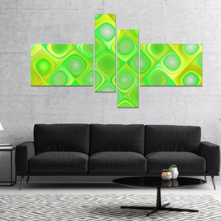 Designart 'Green Fractal Pattern with Swirls' Abstract Wall Art Canvas