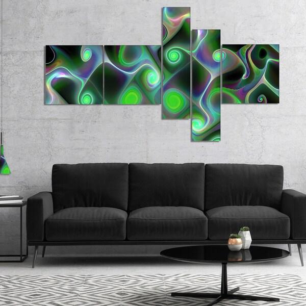 Designart 'Dark Green Fractal Swirls' Abstract Wall Art Canvas