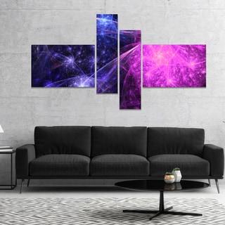 Designart 'Purple Pink Colorful Fireworks' Abstract Art on Canvas