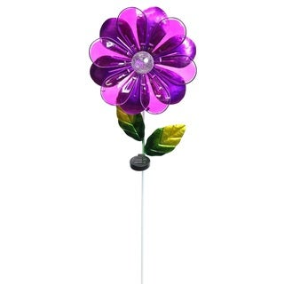 Alpine Corporation Purple/Multicolor Glass Flower Solar Garden Stake