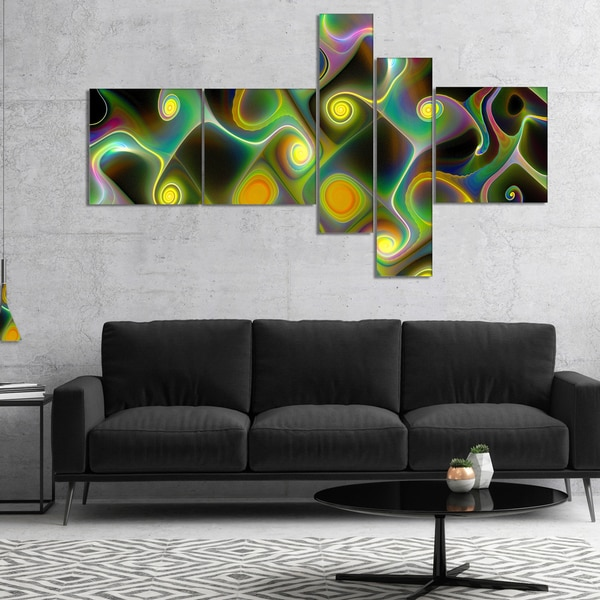 Designart 'Yellow Fractal Pattern with Swirls' Abstract Wall Art Canvas