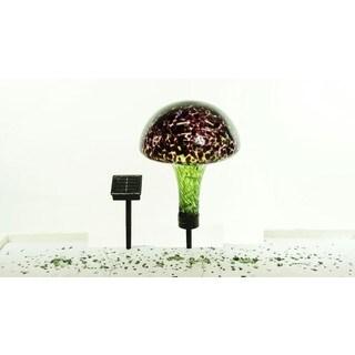 Alpine Corporation Multicolored Glass Solar Mushroom with 16 LED Lights