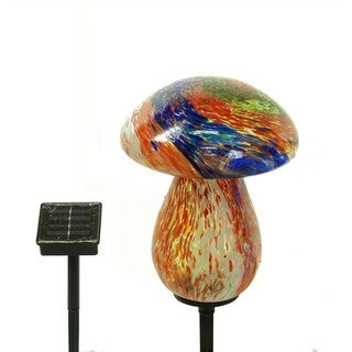 Alpine Solar Glass Mushroom with 10 LED Lights