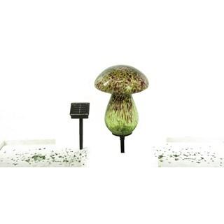 Alpine Corporation Solar Glass Mushroom with 10 LED Lights