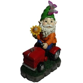 Alpine Solar 'Welcome' Gnome on Tractor with LED Lights