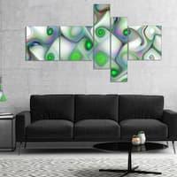 Designart 'White Green Pattern with Swirls' Abstract Wall Art Canvas