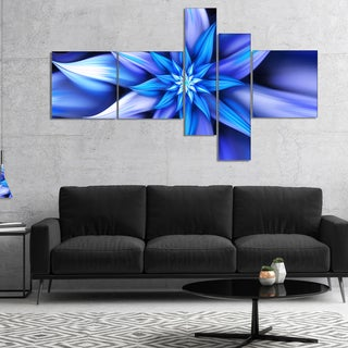 Designart 'Dancing Blue Flower Petals' Floral Canvas Art Print