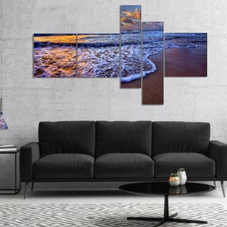 Designart 'Sunset over Blue Sea Waves' Seashore Canvas Art Print