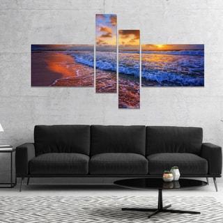 Designart 'Beautiful Waves under Cloudy Sky' Seashore Canvas Art Print