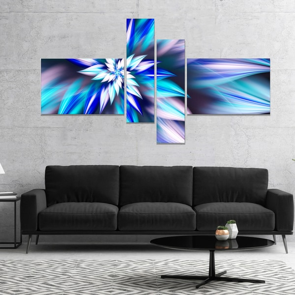 Designart 'Dancing Light Blue Flower Petals' Floral Canvas Art Print