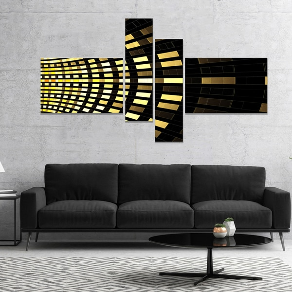 Designart 'Abstract Fractal Gold Square Pixel' Abstract Art on Canvas