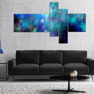 Designart 'Light Blue Starry Fractal Sky' Blue - Abstract Canvas Art Print