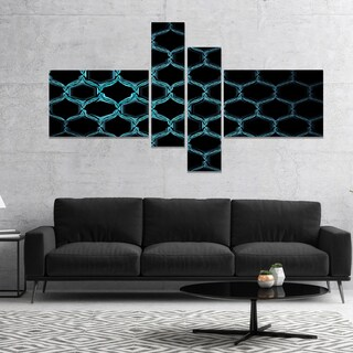 Designart 'Honeycomb Fractal Gold Hex Pixel' Abstract Art on Canvas