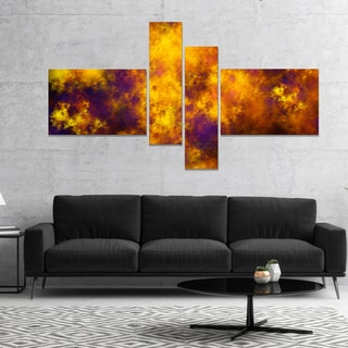 Designart 'Cloudy Orange Starry Fractal Sky' Abstract Canvas Art Print