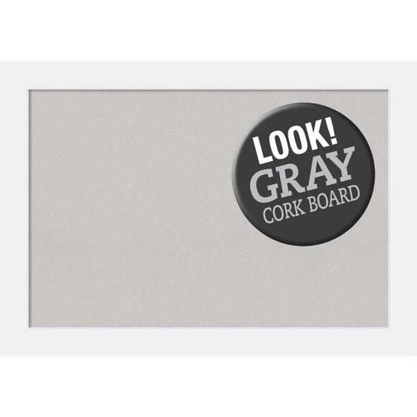Framed Grey Cork Board, Corvino White