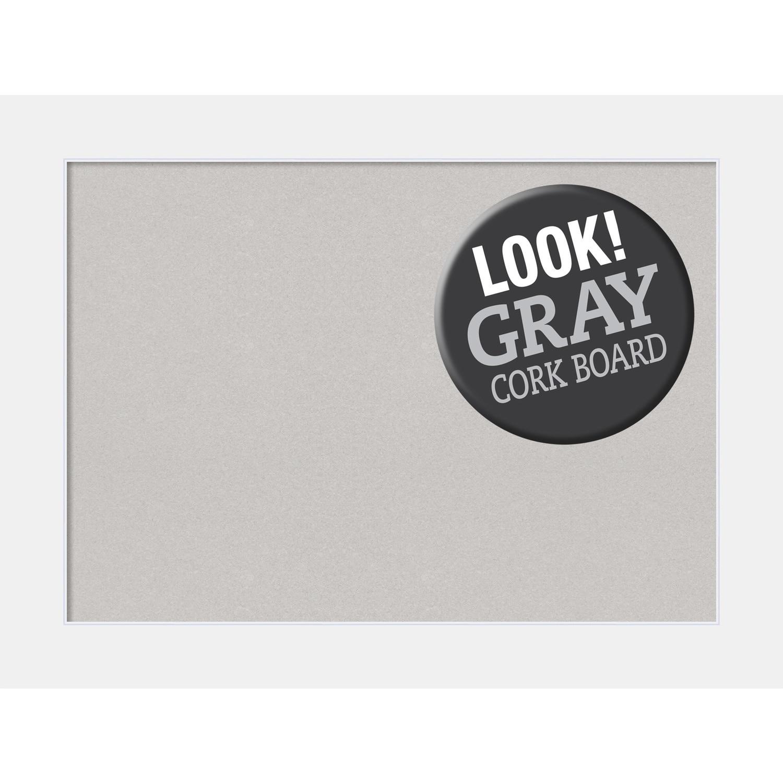 Framed Grey Cork Board Corvino White Overstock 16942111
