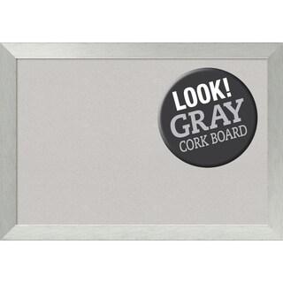 Framed Grey Cork Board, Brushed Sterling Silver