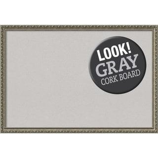 Framed Grey Cork Board, Parisian Silver