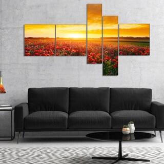 Designart 'Poppy Field under Ablaze Sunset' Abstract Wall Art Canvas