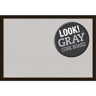 Framed Grey Cork Board, Espresso Brown