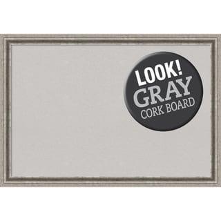 Framed Grey Cork Board, Bel Volto Silver