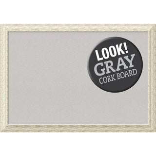 Framed Grey Cork Board, Cape Cod White Wash