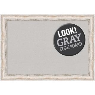 Framed Grey Cork Board, Alexandria White Wash