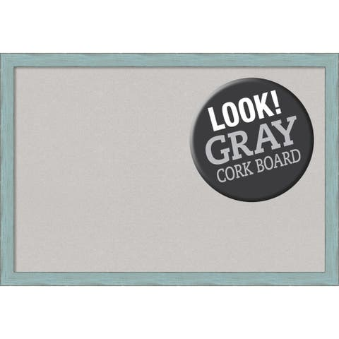 Framed Grey Cork Board, Sky Blue Rustic