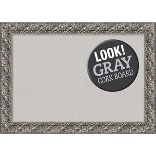 Framed Grey Cork Board, Silver Luxor