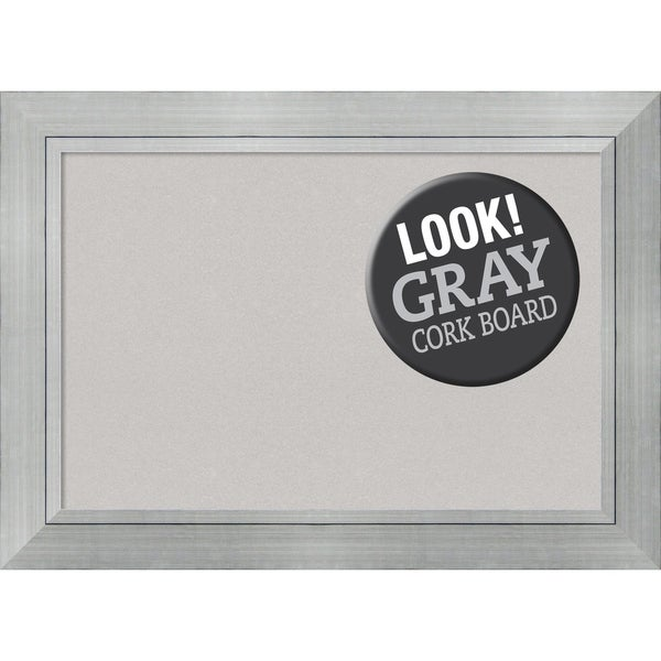 Framed Grey Cork Board, Romano Silver