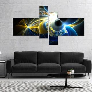 Designart 'Glowing Blue Yellow Plasma' Abstract Wall Art Canvas