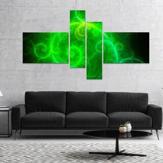 Designart 'Beautiful Green Pattern on Black' Abstract Wall Art Canvas