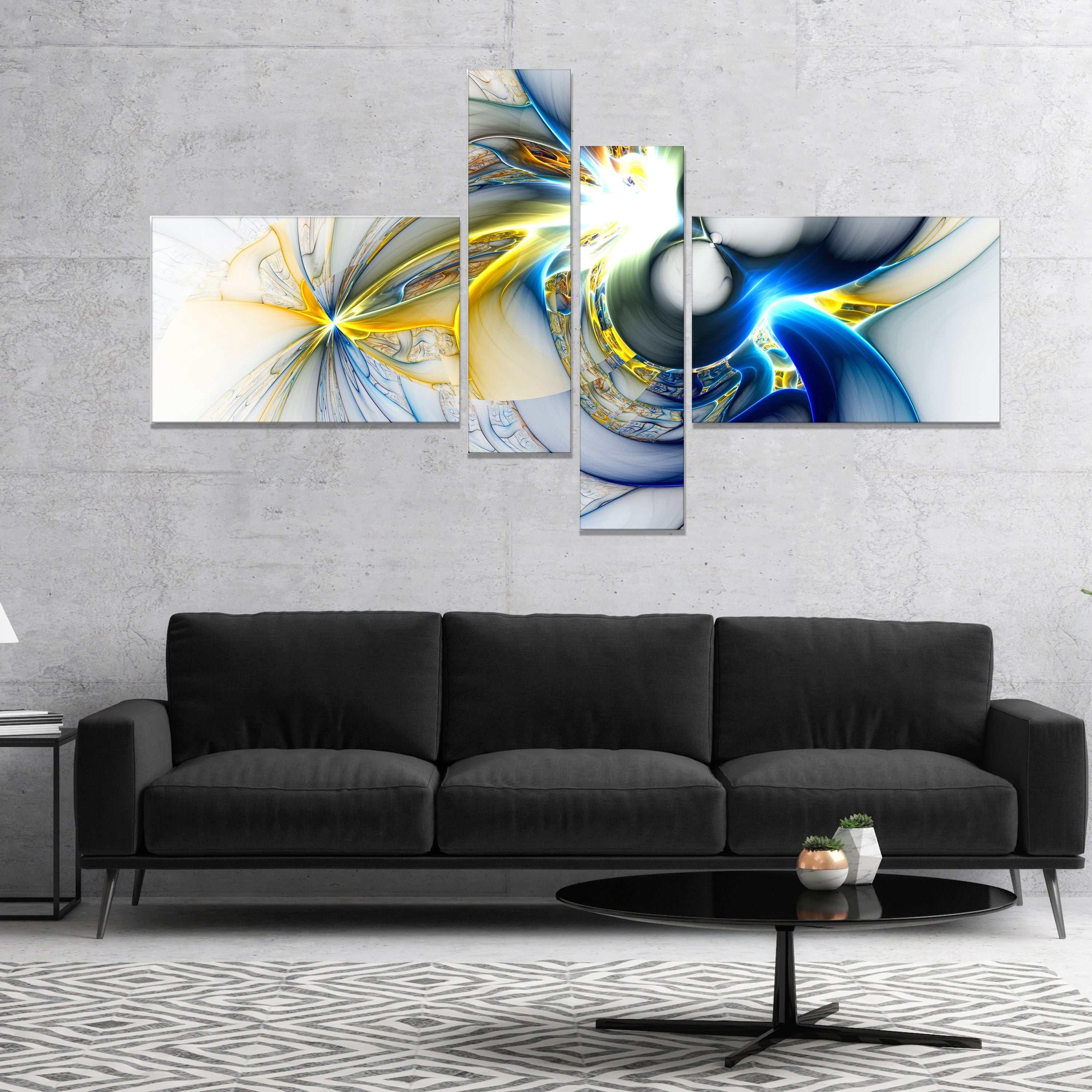 ABSTRACT MULTICOLOUR BLUE PINK CANVAS WALL ART PICTURE 18 X 32 INCHES FRAMED