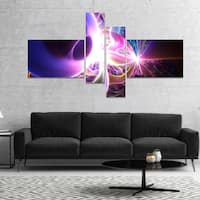 Designart 'Glowing Purple Design on Black' Abstract Wall Art Canvas