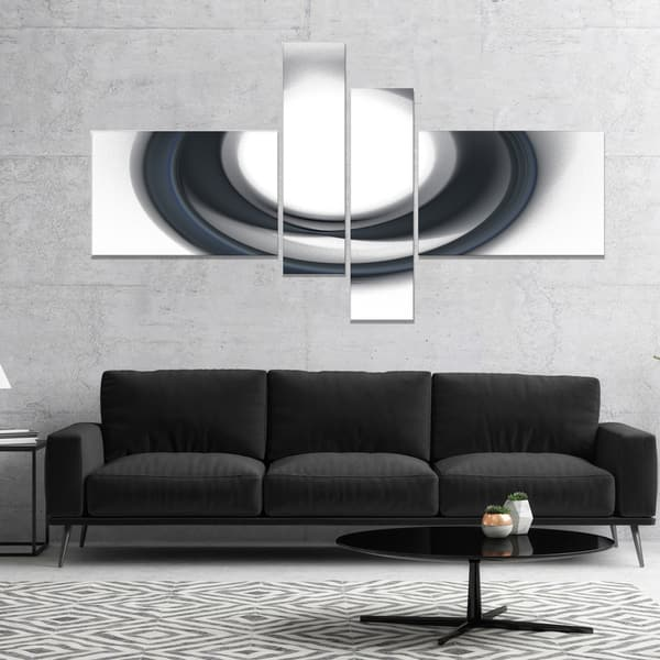 Shop Designart Large Fractal Black Circle On White Abstract Wall