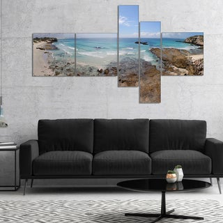 Designart 'The Rocks and Beach Panorama' Seashore Canvas Art Print