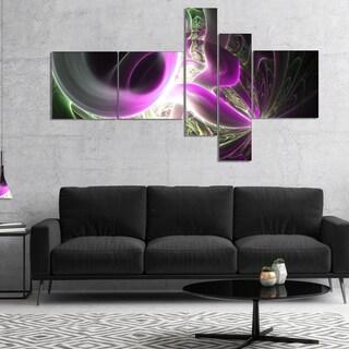 Designart 'Light Purple Designs on Black' Abstract Wall Art Canvas