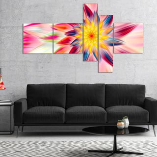 Designart 'Pink Dancing Flower Petals' Floral Canvas Art Print