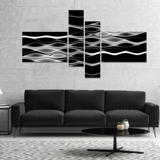 Designart 'White Waves Fractal Pattern' Abstract Wall Art Canvas