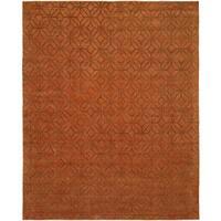 Avalon Orance Spice Wool/Silkette Handmade Area Rug - 10' x 14'