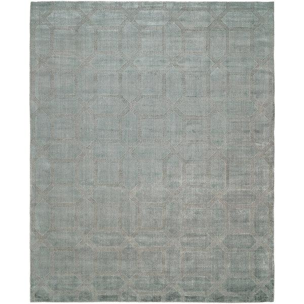 Avalon Crystal Blue Wool And Viscose Handmade Area Rug 10 X27