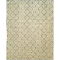 Avalon Chino Beige Wool/Viscose Handmade Geometric Area Rug (10' x 14') - 10' x 14'