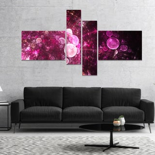 Designart 'Pink on Black World Bubbles' Floral Canvas Art Print