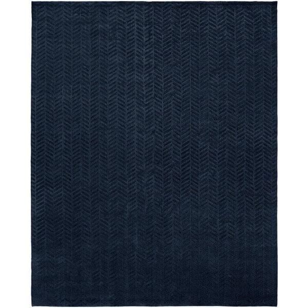 Avalon Midnight Blue Wool and Viscose Handmade Area Rug - 8' x 10'