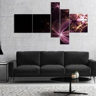 Designart 'Purple Shiny Fractal Flowers' Abstract Wall Art Canvas