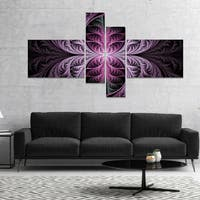 Designart 'Purple Glowing Fractal Stained Glass' Abstract Canvas Art Print