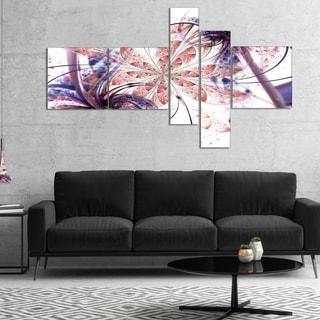 Designart 'Blue Pink Fractal Flower Pattern' Abstract Wall Art Canvas