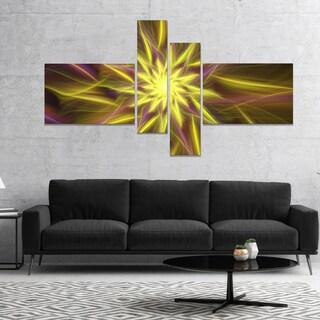 Designart 'Shining Golden Exotic Fractal Flower' Floral Canvas Art Print