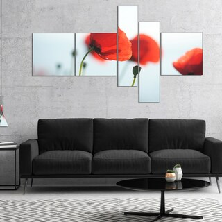 Designart 'Poppies on Background of Sea' Floral Canvas Art Print (2 options available)